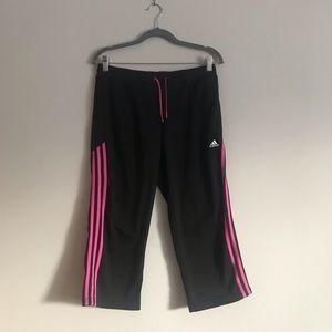 Adidas black with pink stripe capris